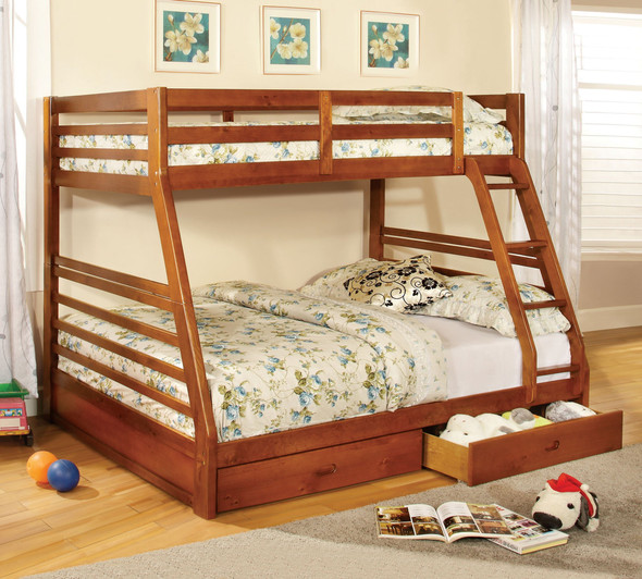 Dule Transitional Twin over Full Solid Wood Bunk Bed in Oak