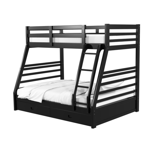 Tomi Storage Twin/Full Bunk Bed in Black