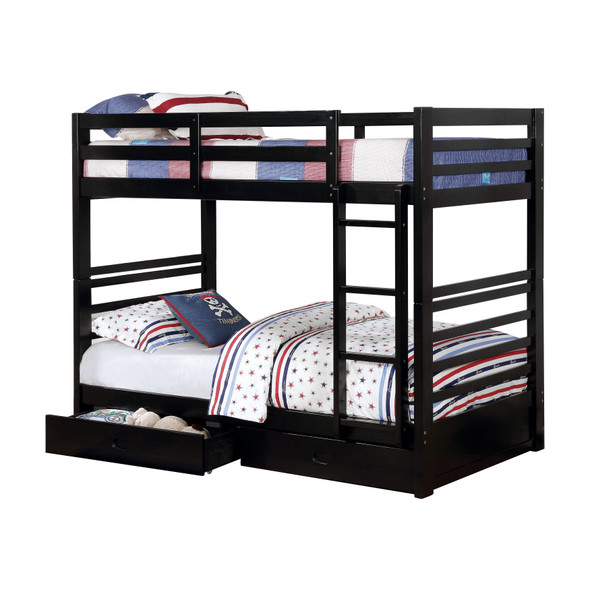 Tomi Storage Twin/Twin Bunk Bed in Black