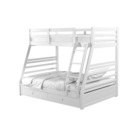 Tomi Storage Twin/Full Bunk Bed in Wire-Brushed White