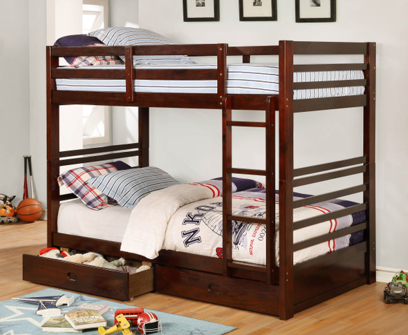Dule Transitional Twin over Twin Solid Wood Bunk Bed in Dark Walnut