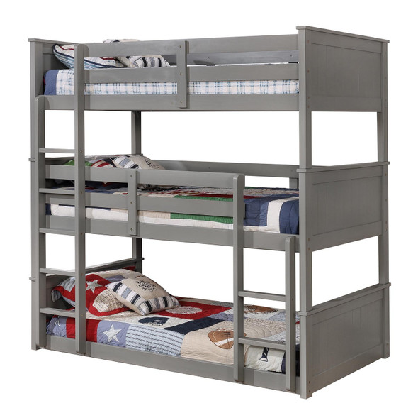 Stephen Transitional Solid Wood Twin Triple Bunk Bed in Gray
