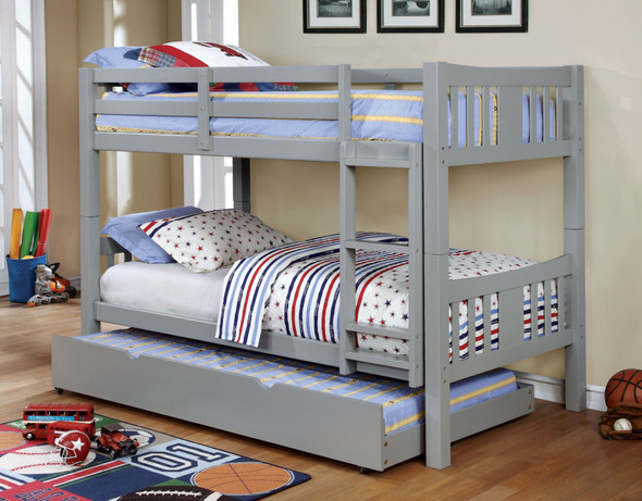 Khanjari Transitional Solid Wood Twin over Twin Bunk Bed in Gray