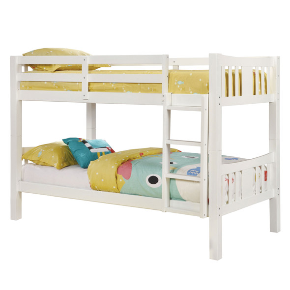 Khanjari Transitional Solid Wood Twin over Twin Bunk Bed in White