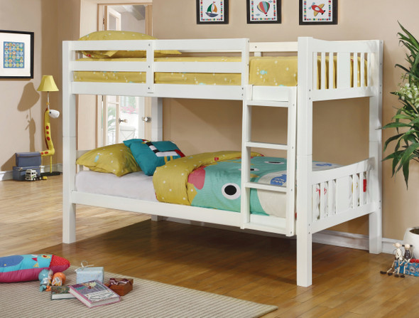 Khanjari Transitional Solid Wood Full over Full Bunk Bed in White