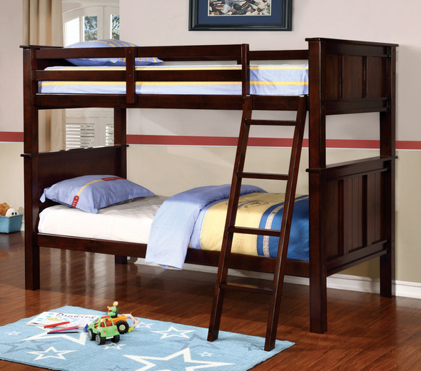Joshel Transitional Solid Wood Bunk Bed in Twin over Twin
