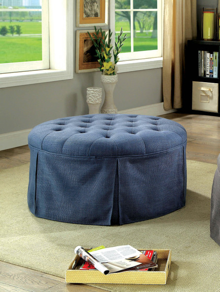 Calais Transitional Upholstered Ottoman in Blue