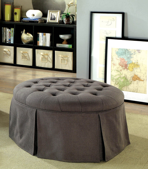 Calais Transitional Upholstered Ottoman in Gray