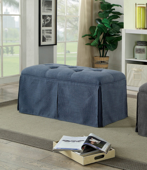 Troyes Transitional Button Tufted Bench in Blue