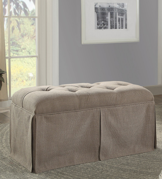 Troyes Transitional Button Tufted Bench in Brown