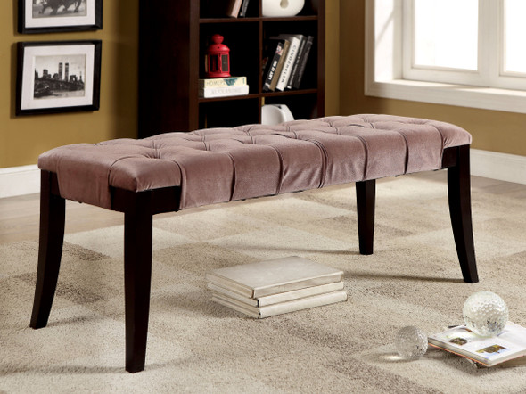 Caen Contemporary Button Tufted Bench in Brown