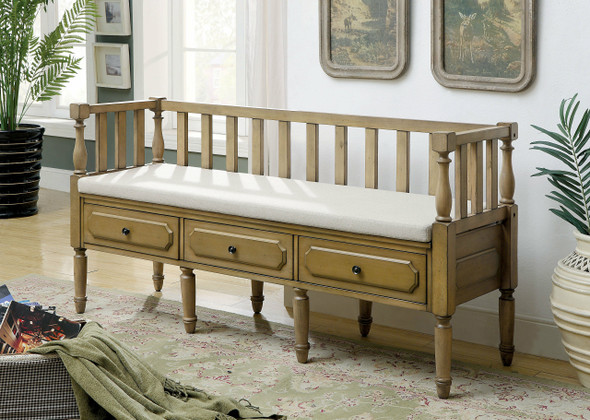 Claudette Transitional Storage Bench in Weathered Natural Tone