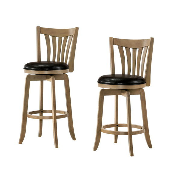 Edward Transitional Padded 24-Inch Bar Stool in Brown Cherry