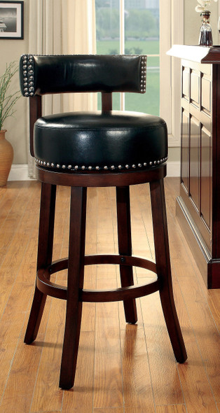 Roos Contemporary Swivel 24-Inch Bar Stools in Black and Dark Oak (Set of 2)