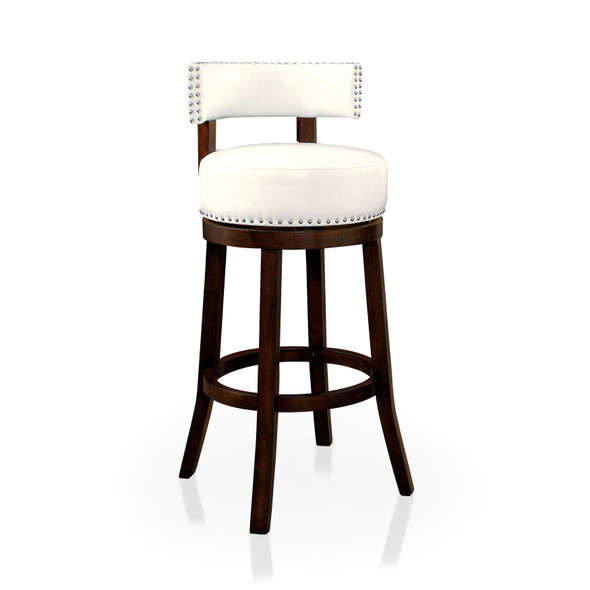 Roos Contemporary Swivel 29-Inch Bar Stools in White and Dark Oak (Set of 2)