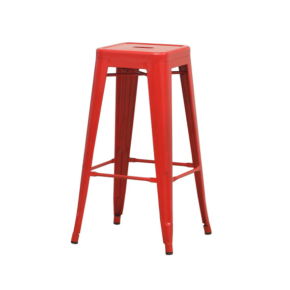 Clarke Contemporary Bar Stools in Red (Set of 2)