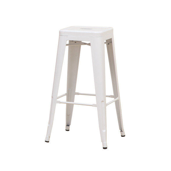 Clarke Contemporary Bar Stools in White (Set of 2)