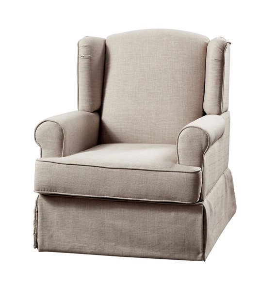 Celine Transitional Upholstered Rocking Chair in Beige