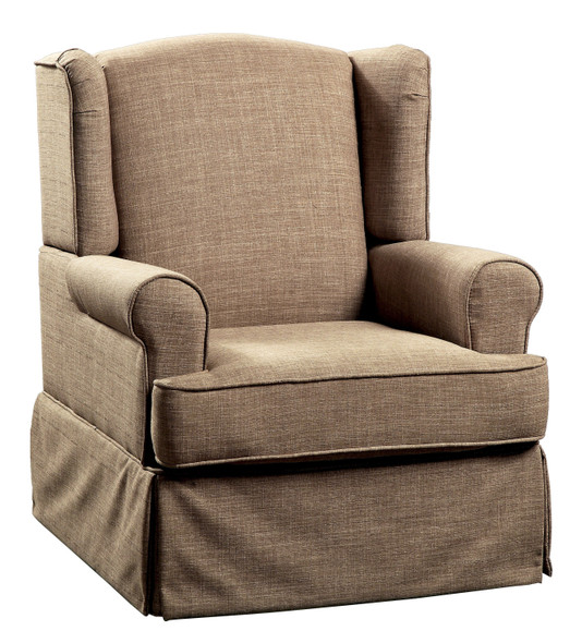 Celine Transitional Upholstered Accent Chair in Brown