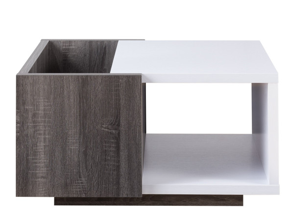 Dax Contemporary Multi-Storage Coffee Table in White and Distressed Gray