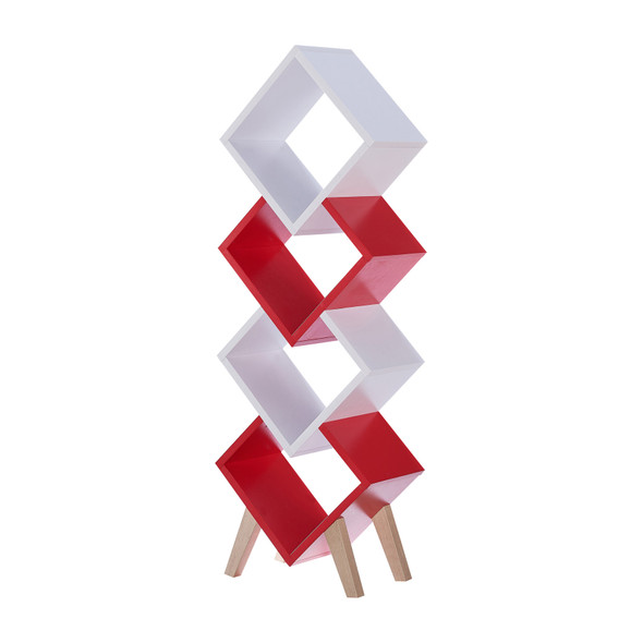 Yarmow 4-Shelf Bookcase in White and Red