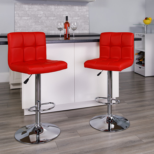 Red Quilted Vinyl Barstool - FLDS-810-MOD-RED-GG