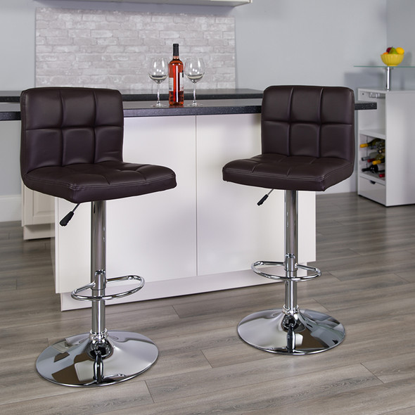 Brown Quilted Vinyl Barstool - FLDS-810-MOD-BRN-GG