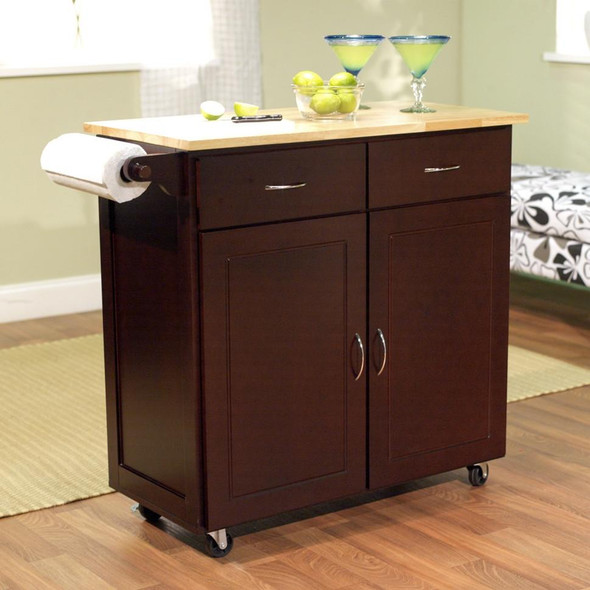 43-inch W Portable Kitchen Island Cart with Natural Wood Top in Espresso