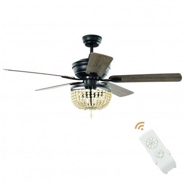"""52"""" Retro Ceiling Fan Light with Reversible Blades Remote Control-Black"""