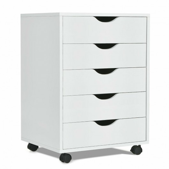 5 Drawer Dresser Storage Cupboard Chest with Wheels for Home Office
