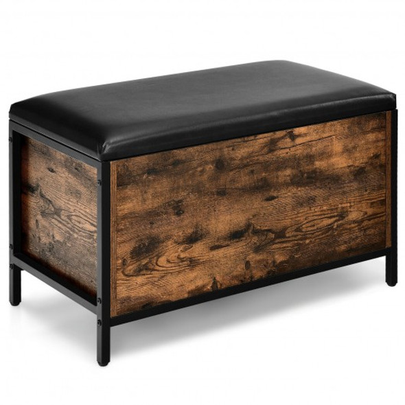Entryway Flip Top Ottoman Stool with Padded Seat