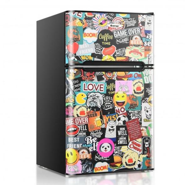 3.3 CU.FT. Compact Refrigerator with Freezer 2 Reversible Door Mini Fridge-Multicolor