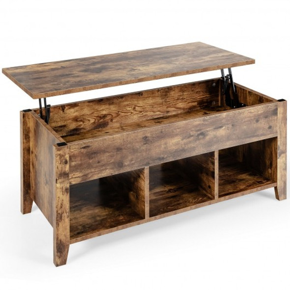 Lift Top Coffee Table with Storage Lower Shelf-Tan