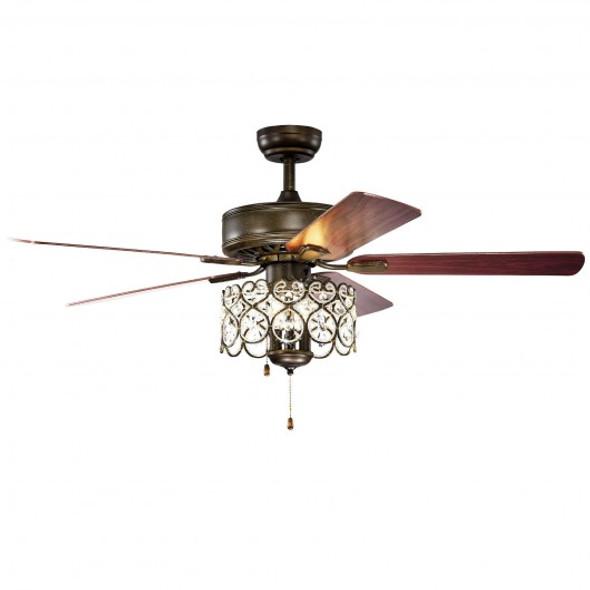 """52"""" Ceiling Fan with Light Retro Crystal Chandelier Ceiling Fan 5 Reversible Fan"""