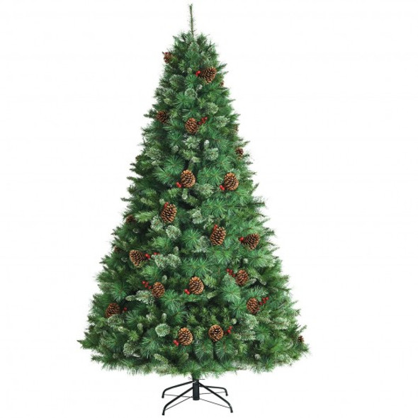 8 Feet Unlit Hinged PVC Artificial Christmas Pine Tree with Red Berries