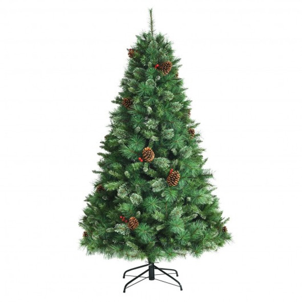 6 Feet Unlit Hinged PVC Artificial Christmas Pine Tree with Red Berries