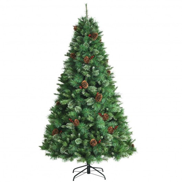 7ft Unlit Hinged PVC Artificial Christmas Pine Tree with Red Berries