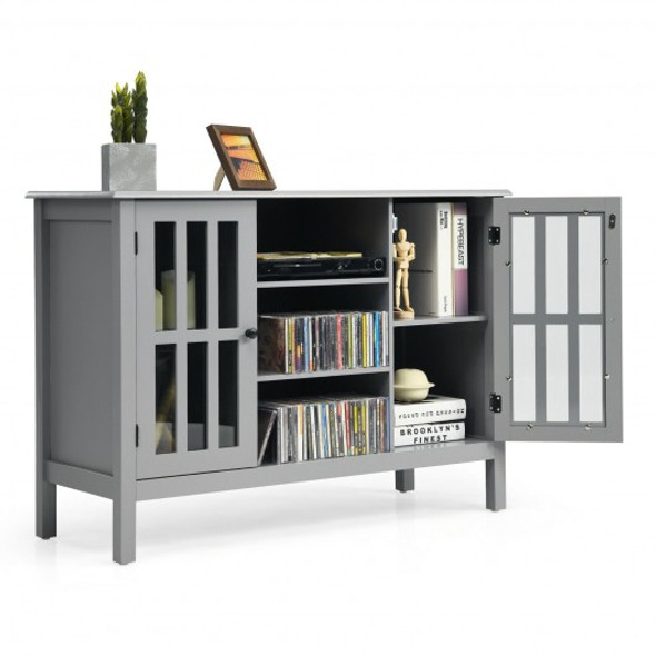 """Wooden TV Stand Console Cabinet for 50"""" TV-Gray"""