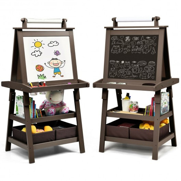 3 in 1 Double-Sided Storage Art Easel-Coffee