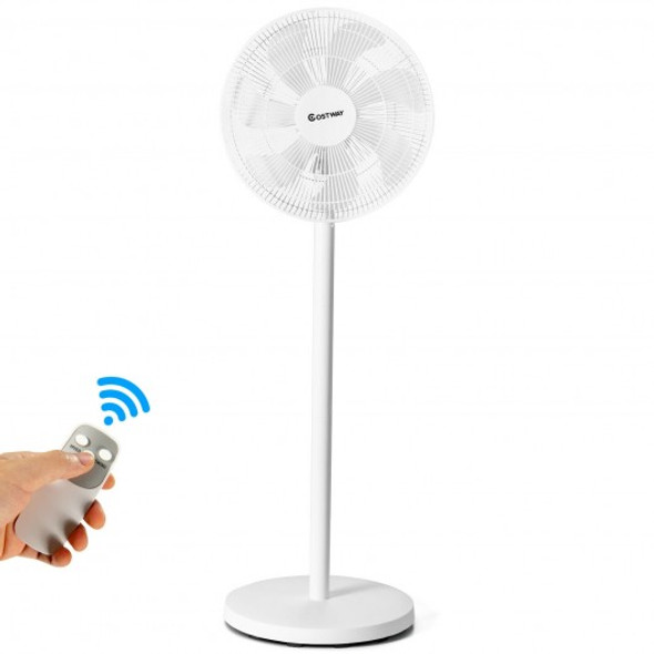 """16"""" Oscillating Pedestal 3-Speed Adjustable Height Fan with Remote Control-White"""