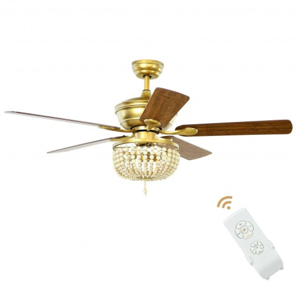"""52"""" Retro Ceiling Fan Light with Reversible Blades Remote Control-Golden"""