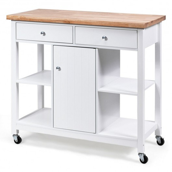 Rolling Kitchen Trolley Island Utility Cart Storage Shelf-White
