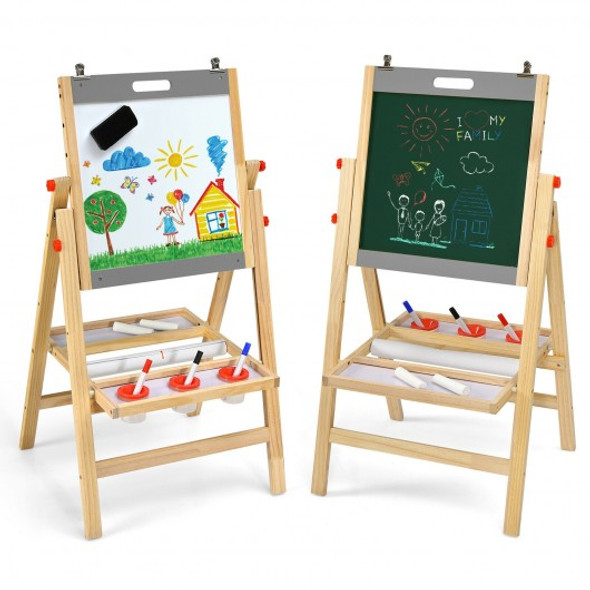 Kids Art Easel with Paper Roll Double Sided Chalkboard and Whiteboard-Gray