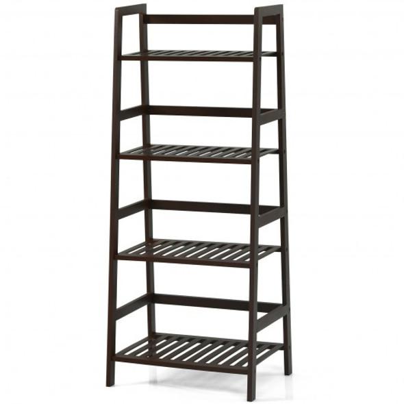 4-Tier Bamboo Ladder Shelf-Brown