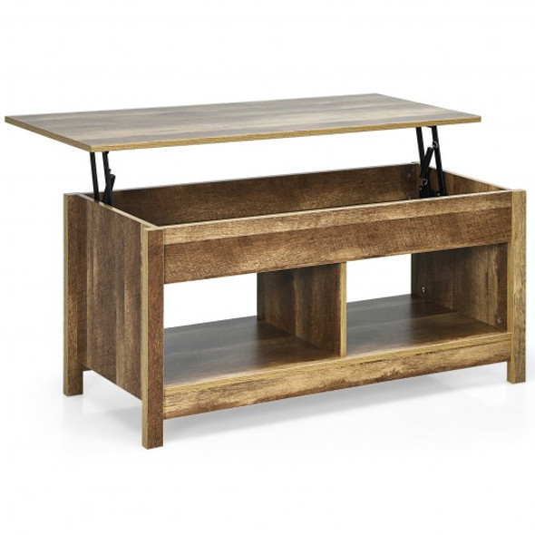 Lift Top Coffee Table with Hidden Storage Compartment and Lower Shelf for Study Room-Oak