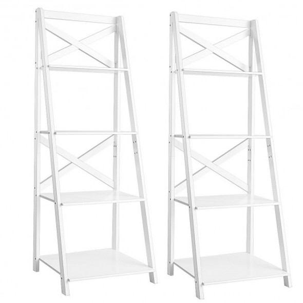 4-Tier Wood Display Storage Bookshelf-White