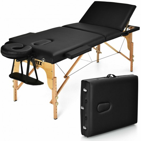 """3 Fold 84"""" L Portable Adjustable Massage Table with Carry Case-Black"""