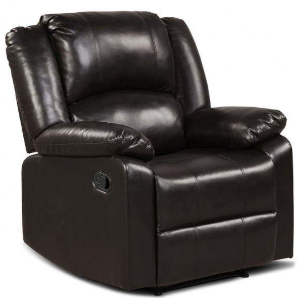 Recliner Chair Lounger Single Sofa for Home Theater Seating with Footrest Armrest-Brown