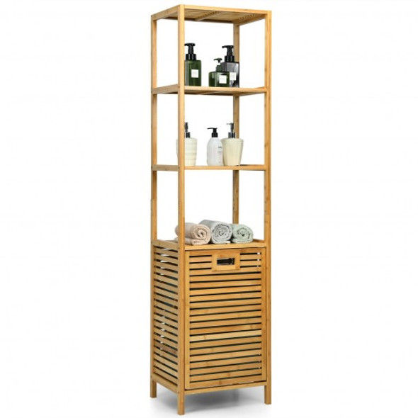 Bamboo Tower Hamper Organizer with 3-Tier Storage Shelves-Natural