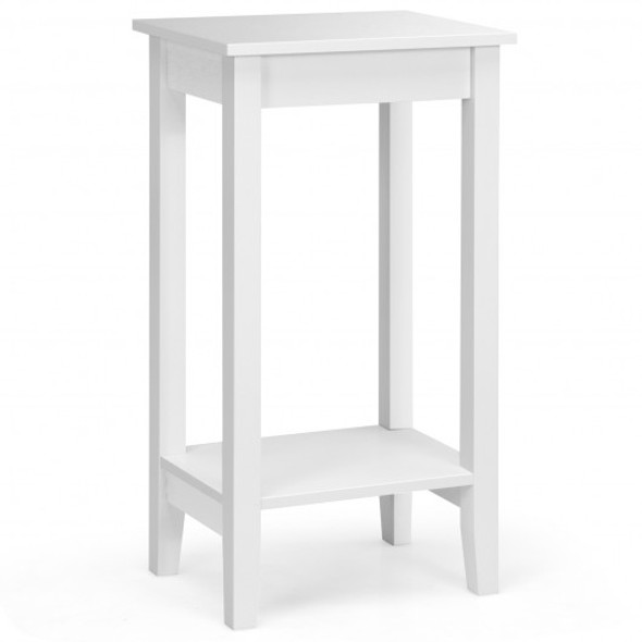 2-Tier Nightstand End Side Wooden Legs Table for Bedroom-White